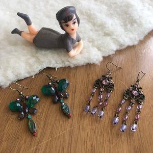 💎 Lot of 2 Pairs Boho Chic Earrings